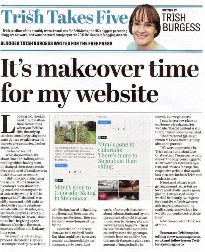 mum's gone to lincs free press screenshot 79design