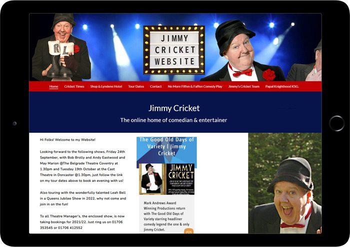 jimmy cricket website designer tablet