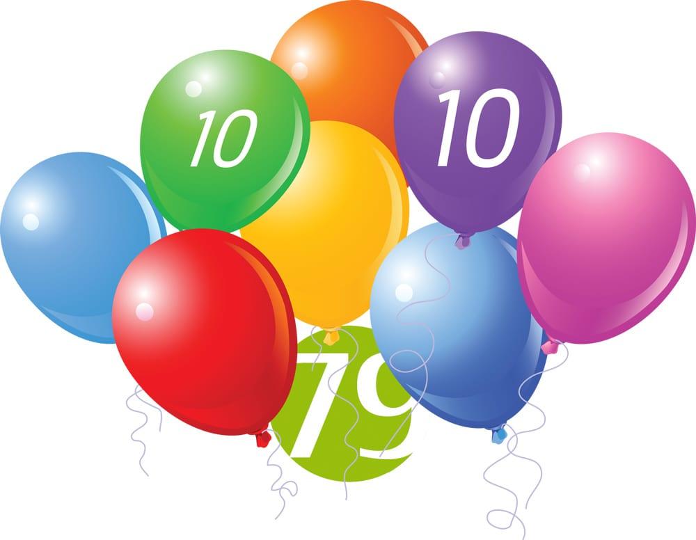10 anniversary balloons