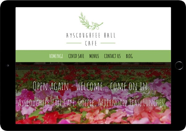 Ayscoughfee hall cafe website design