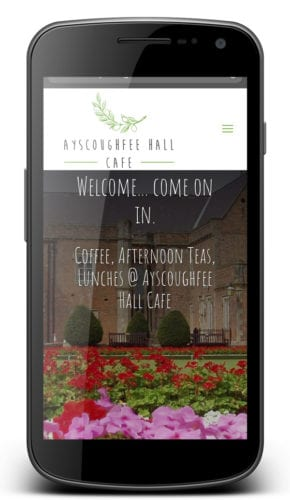 ayscoughfee hall cafe website design