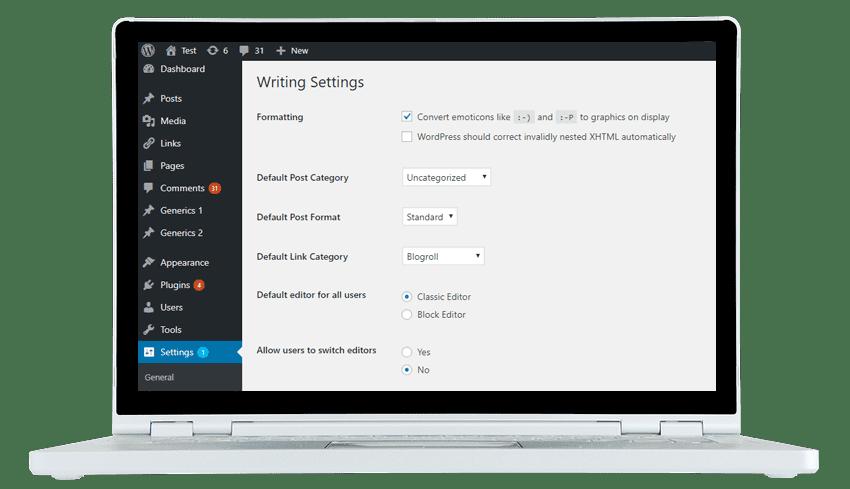 onsite wordpress training admin screen