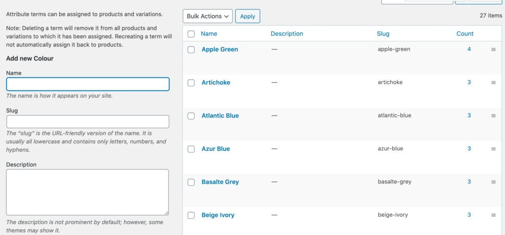 Attributes in WooCommerce