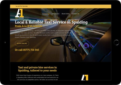a1 taxi spalding website on tablet