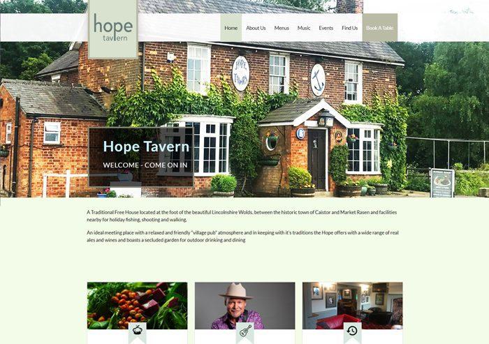 hope tavern website design