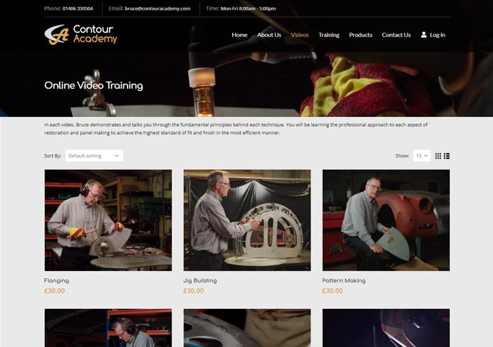 screenshot website design contour academy