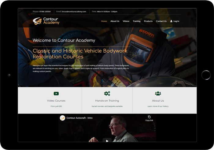 tablet website design contour academy